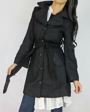 Black FIT AND FLARE Heavy Woven Chunky Texture Peacoat Belt Trench Jacket Coat S