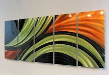 Large Orange/Green/Black Contemporary Metal Wall Art Painting by Jon Allen