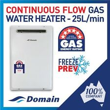 NEW Domain 25 Litre Instant Continuous Flow Natural Gas Hot Water Heater 6 STAR