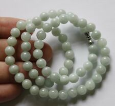 Certified Natural (Grade A) Untreated Light Green Jadeite JADE Beads Necklace