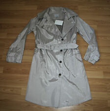 Neu Orig. Noir Fair Trade Fashion Trenchcoat Jacket Mantel Manteau Silver Gr. 40