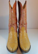 Nocona Leather Cowboy Boots Mens 10.5 D Two Tone Brown Pointed Toe USA Made