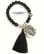 Saint Christopher Coin Evil Eye With Angel Wing Feather Charms Onyx Bracelet