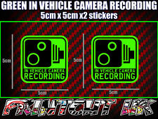 IN VEHICLE CAMERA RECORDING STICKERS X2 decal dash dvr car van bike truck bus G*