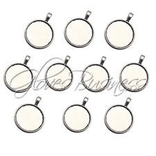 10PC Innner 25mm Antique Silver Round Blank Floating Locket Alloy Tray Pendant