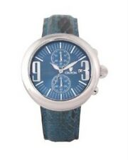 New Croton Crotalus Mens Blue Python Snake Skin Chronograph Watch $399 Retail