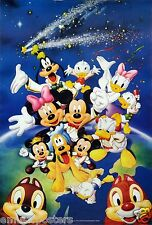 """DISNEY """"SHOOTING STAR ABOVE MICKEY MOUSE & FAMOUS CHARACTERS"""" POSTER FROM ASIA"""