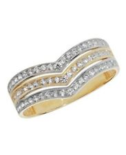 9ct Yellow Gold Hallmarked Ladies Cubic Zirconia Solid Ring All Sizes Available