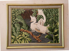 'TWO CRANES / EGRETS IN A MARSH' Vintage Oil Painting Birds - Great Frame