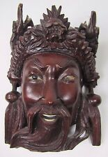old Carved Asian Wood Mask Man Devil Dogs Exquisite Detailing Eyes Teeth -ma6