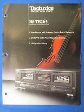 TECHNICS RS-TR165 CASSETTE SALES BROCHURE FACTORY ORIGINAL THE REAL THING