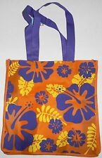 "Reusable Tote Bag  TROPICAL FLOWERS 13"" x 13"" x 4"" PURPLE  HANDLES"
