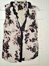 Elie Tahari Nordstrom Womens Top Blouse Sleeveless Floral Silk Stretch Size M