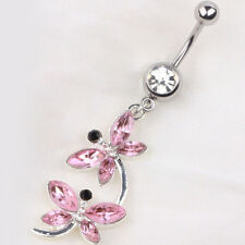 Body Piercing Dragonfly Pendant Belly Button Rhinestone Navel Ring Jewelry