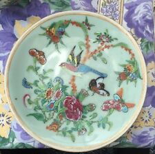 Chinese Export Porcelain Celadon Plate Circa 1840 Famille Rose