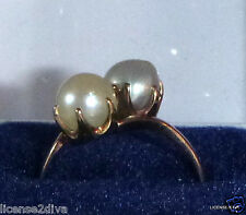 14K YELLOW GOLD GENUINE ART DECO PEARL RING! WHITE/GRAY PEARL! SIZE 7.25! BOX!