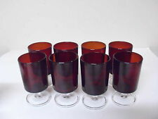 SET OF 8 ARCOROC LUMINARC RUBY RED STEM DRINKING GLASSES 4 INCHES FRANCE