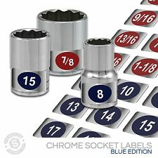 Chrome Socket Set Labels  - Organize and Tag Impact Sockets, Metic + SAE (blue)