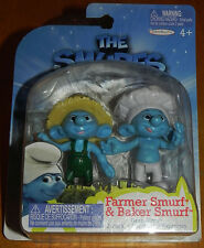 Smurfs Set of 2 PVC/Cake Toppers Figures Farmer & Baker Grab 'Ems Jakks Pacific