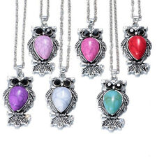 NEW 6PCS mix Vintage Crystal Owl Pendant Necklace Long Chain Rhinestone Jewelry@