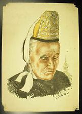 Daniel DERVEAUX Breizh Izel gravure 1958 Basse-Bretagne Bretonne en coiffe 43 cm