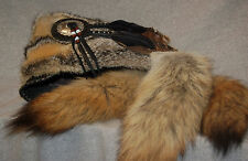 Mountain man 3 tails PRARIE (GREY) FOX FUR HAT FCF Black Powder RENDEZVOUS