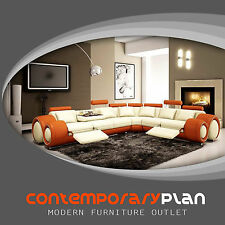 Contemporary Italian Design Ivory &Orange Franco Modern Sectional Designer Sofa