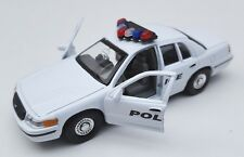 BLITZ VERSAND Ford Crown Victoria 1999 Police weiss Welly Modell Auto 1:34 NEU
