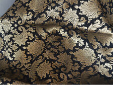 Silk Brocade Fabric in Black and Gold with Motifs Weaving Silk Fabric