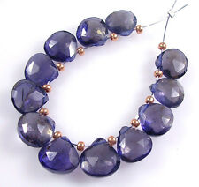 12 GENUINE WATER SAPPHIIRE IOLITE FACETED HEART BRIOLETTE BEADS 7-8.5 mm  J16