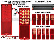 1967-72 Chevy GMC Truck 20-LED Red Tail SEQUENTIAL Turn Signal Light Lenses Pair