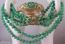 Vintage Trifari Necklace & Bracelet Set 1965 Jewels of India Philippe Glass Jade