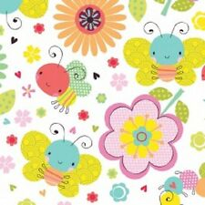 """Camelot Itty Bitty White Tiny Bugs Nursery Fabric By the Yard 44"""" W        A5"""