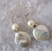 Natural 11-12mm Coin pearl Cultured Freshwater White Pearl Silver Hook Earrings