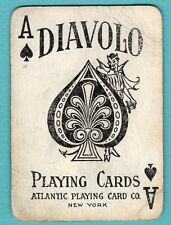 Single Swap ATLANTIC Playing Card ACE OF SPADES #69A DEVIL DIAVOLO WIDE ANTIQUE