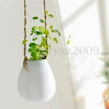 White Ceramic Hanging Planter Garden Flower Plant Pot Vase With Twine Home Decor