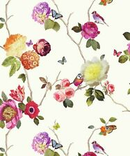 Arthouse Charmed White Multi Wallpaper 889801 - Butterfly Bird Floral Rose