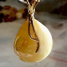 100% Genuine Russian Baltic Amber Butterscotch Egg Yolk Silver 14K plated 老琥珀