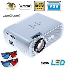 3000 Lumens HD Home Cinema Theater Multimedia 3LCD/LED Projector HDMI//VGA/AV/3D