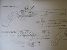 Harpers Ferry army military FLINTLOCK Gunsmith Plans Drawing Pistol Black Powder
