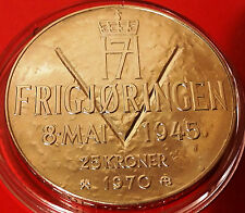 NORWAY 25 KRONER 1970 - WW2 35th Commemorative 87.5% Silver Coin in Capsule