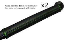 GREEN STITCHING DASH GRAB HANDLE LEATHER SKIN COVER FITS LANCIA FULVIA