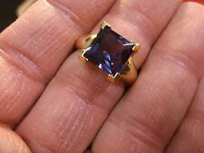 GORGEOUS LADIES STERLING SILVER VERMEIL GOLD RING WITH COLOR CHANGE SAPPHIRE N/M