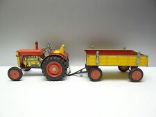 2 Vintage Used Old Broken Metal Tin Zetor Red Tractor Wagon Toys Parts