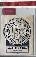 vintage lot roller rink decal 1951 Maple Arena Brockton Ma & ticket FREE SHIPPIN