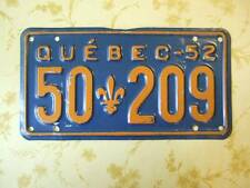 Old Photo. 1952 Quebec Vehicle License Plate '50 209'