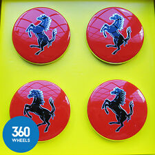 4 x NEW GENUINE FERRARI RED CENTRE CAPS HUB BADGE ALLOY WHEEL CENTER