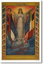 Welcome Home Our Gallant Boys -NEW Vintage WWI Art Print POSTER