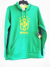 NWT Offical CBF Brasil Soccer 100% Poly Green Hoodie Pullover Sweatshirt Size M