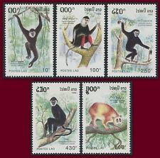 LAOS N°1066/1070** Primates grimpeurs, singes, 1992 Apes set MNH